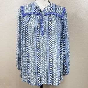 Lucky Brand Blue Beaded Chevron Blouse Size 2X